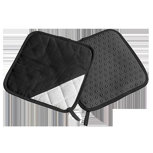Topflappen Silikon/Textil schwarz Paar