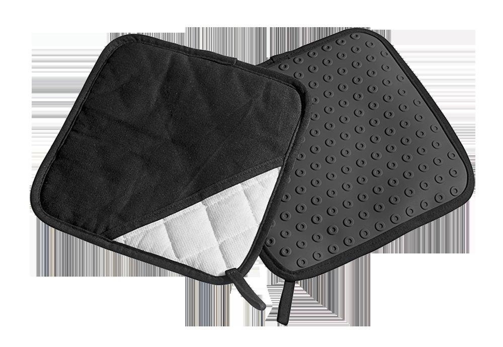 topflappen silikon textil schwarz paar backzubeh r. Black Bedroom Furniture Sets. Home Design Ideas