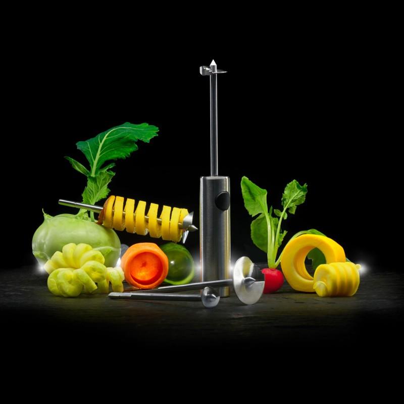 Lurch Twister schneidet Spiralen aus Obst und Gemüse und höhlt sie dabei aus