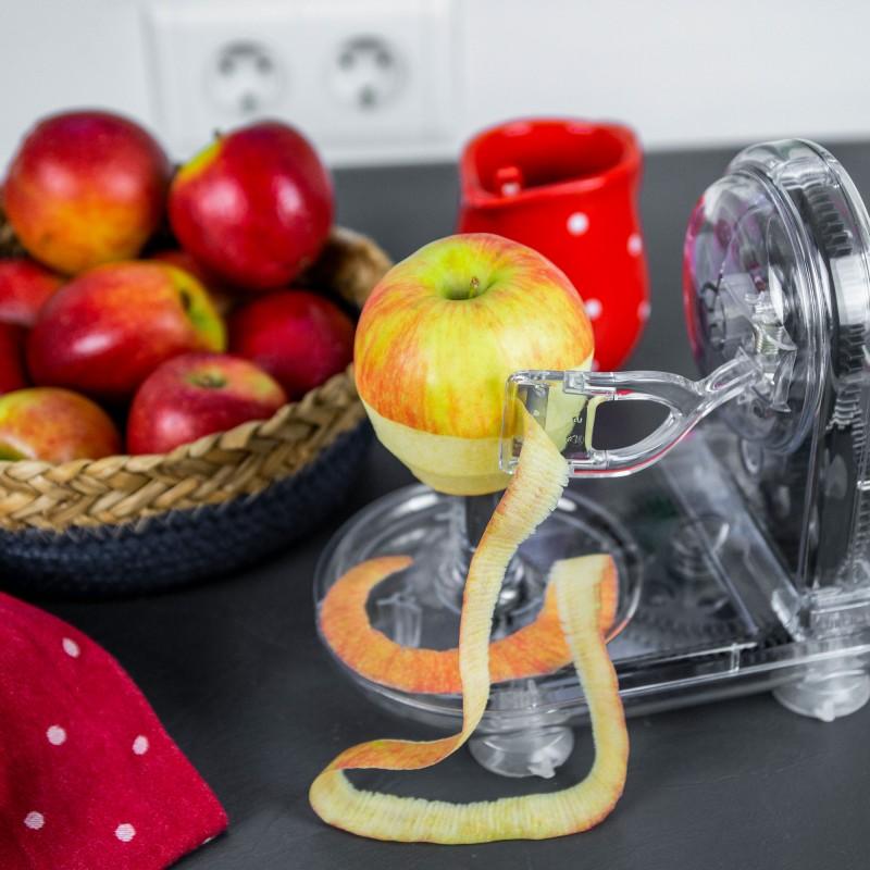 Eine manuelle Apfelschälmaschine mit Handkurbel von Lurch