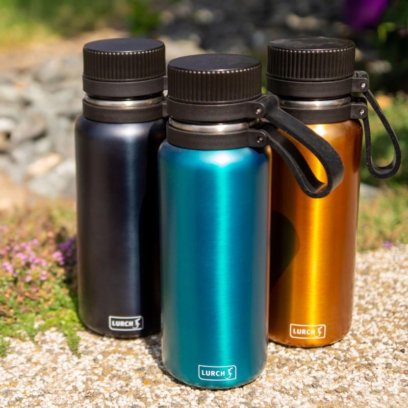 Outdoor-Thermoflasche aus Edelstahl mit Tragelasche