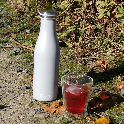 Thermo-Flasche Edelstahl 0,5l hellgrau