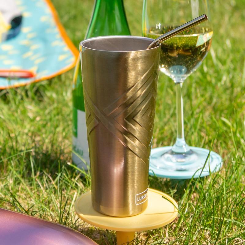 Der Lurch Trinkbecher The One aus doppelwandigem Edelstahl und Rautenmuster in drei Trendfarben