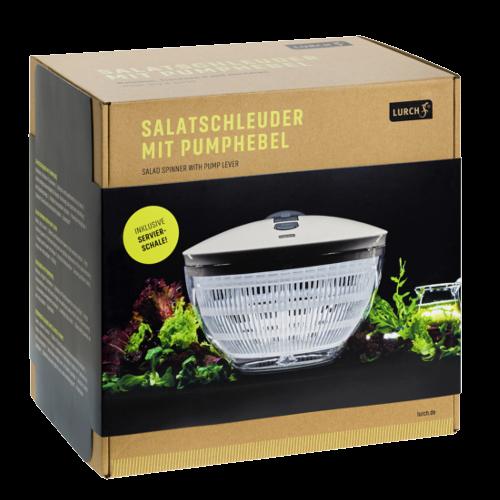 Salatschleuder mit Pumphebel iron grey/weiß
