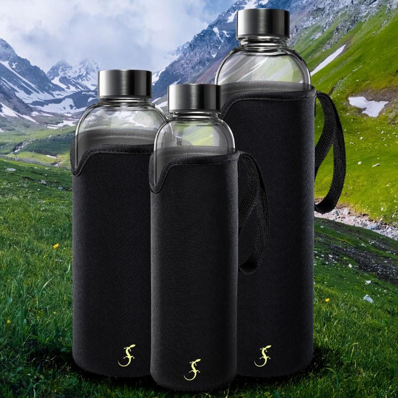 Glasflaschen mit Schutzhülle in drei Größen von Lurch