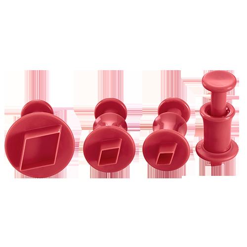 Ausstecher mit Auswerfer Diamant 4er Set ruby