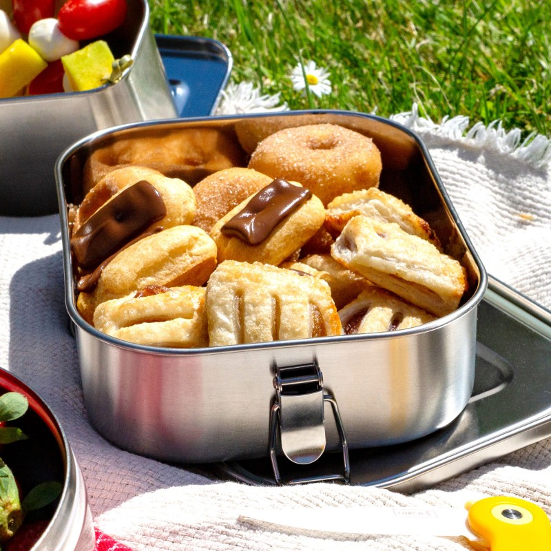Die Lunchbox Snap ist 100% auslaufsicher und aus Edelstahl