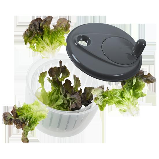 Salatschleuder mit  Kurbel steingrau