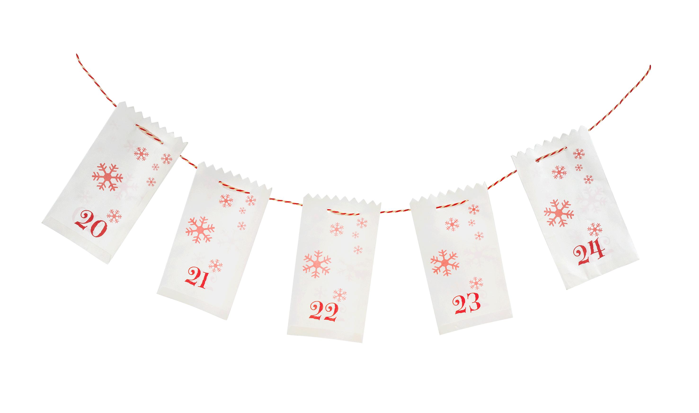 Flexiform Adventskalender karmin Papiertüten 1-24